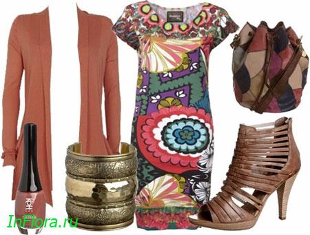 Сумка из разноцветных кусочков кожи придаст...  Если будет слегка прохладно, то можно поверх платья надеть...