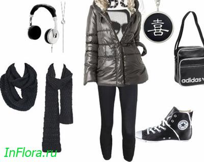 Спортивный стиль одежды и обуви зима.